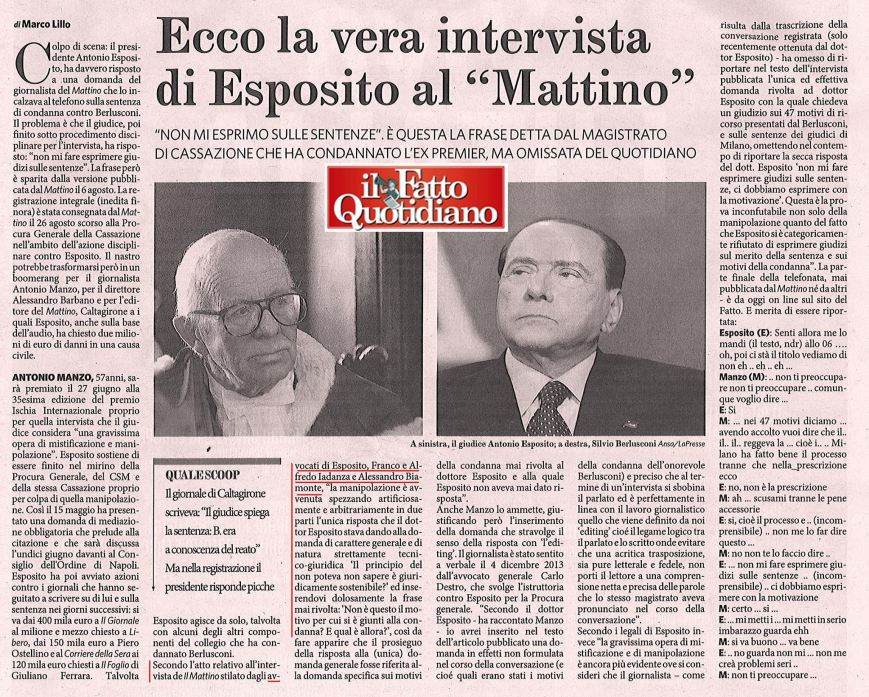 Il Fatto Quotidiano - Intervista Pres. Esposito